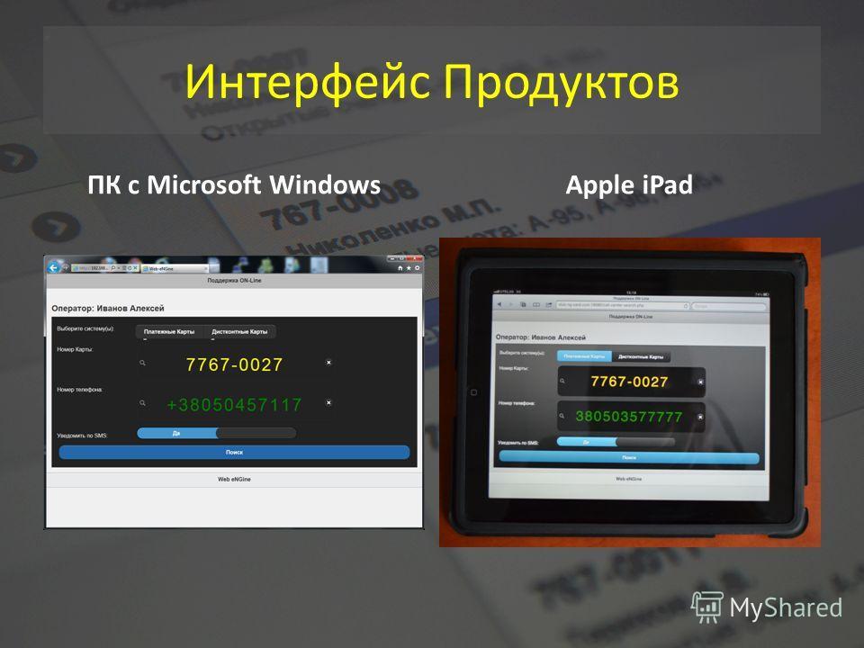 Интерфейс Продуктов ПК с Microsoft WindowsApple iPad