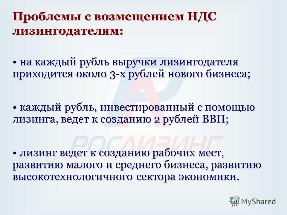 Проблемы с возмещением НДС лизингодателям: на каждый рубль выручки лизингодателя приходится около 3-х рублей нового бизнеса; на каждый рубль выручки лизингодателя приходится около 3-х рублей нового бизнеса; каждый рубль, инвестированный с помощью лиз