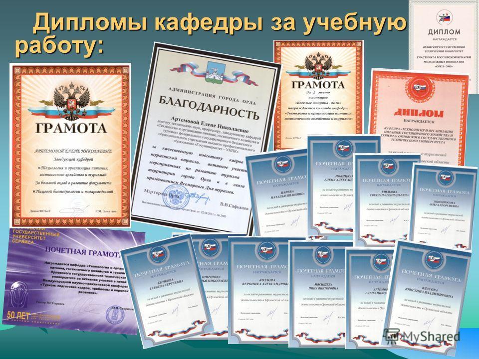 Дипломы кафедры за учебную работу: