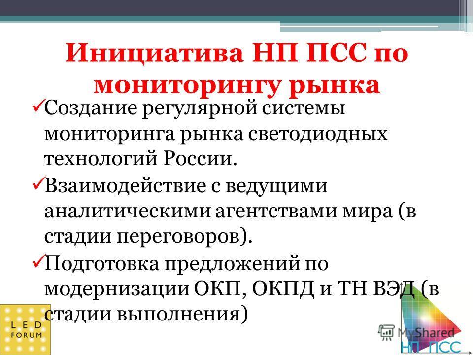 Инициатива НП ПСС по мониторингу рынка Создание регулярной системы мониторинга рынка светодиодных технологий России. Взаимодействие с ведущими аналитическими агентствами мира (в стадии переговоров). Подготовка предложений по модернизации ОКП, ОКПД и