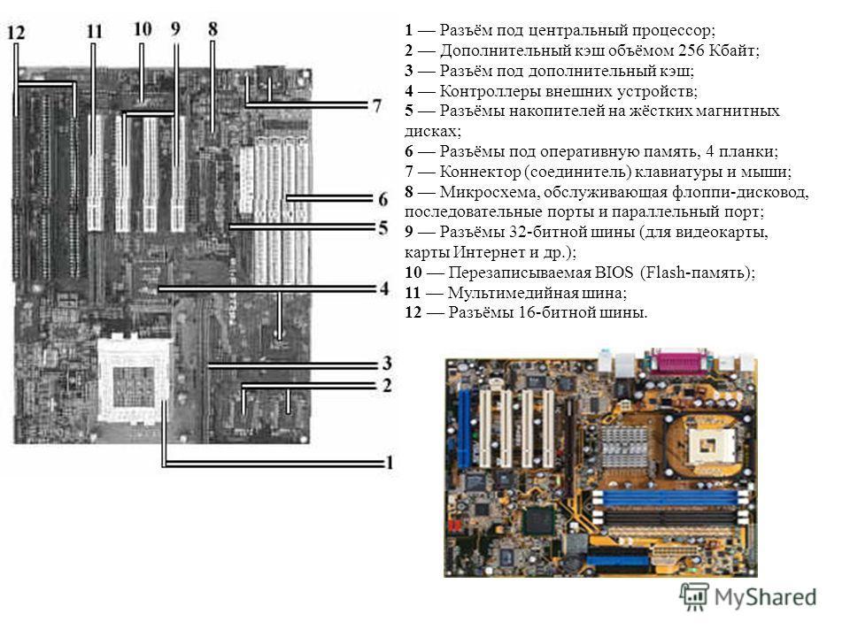 1 Разъём под центральный процессор; 2 Дополнительный кэш объёмом 256 Кбайт; 3 Разъём под дополнительный кэш; 4 Контроллеры внешних устройств; 5 Разъёмы накопителей на жёстких магнитных дисках; 6 Разъёмы под оперативную память, 4 планки; 7 Коннектор (
