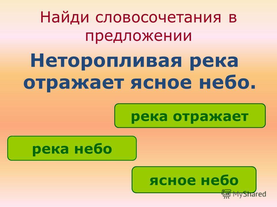 Найди словосочетания в предложении Неторопливая река отражает ясное небо. ясное небо река небо река отражает ОШИБКА! Этот текст выводится при ошибке. ПРАВИЛЬНО! Этот текст выводится при правильном ответе.