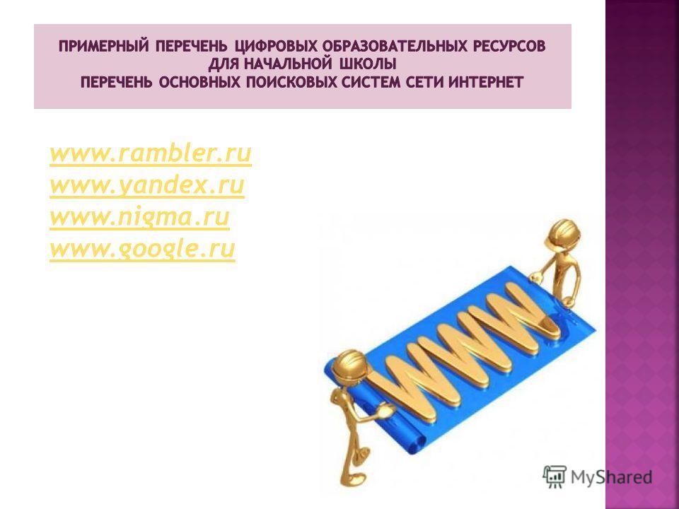 www.rambler.ru www.yandex.ru www.nigma.ru www.google.ru