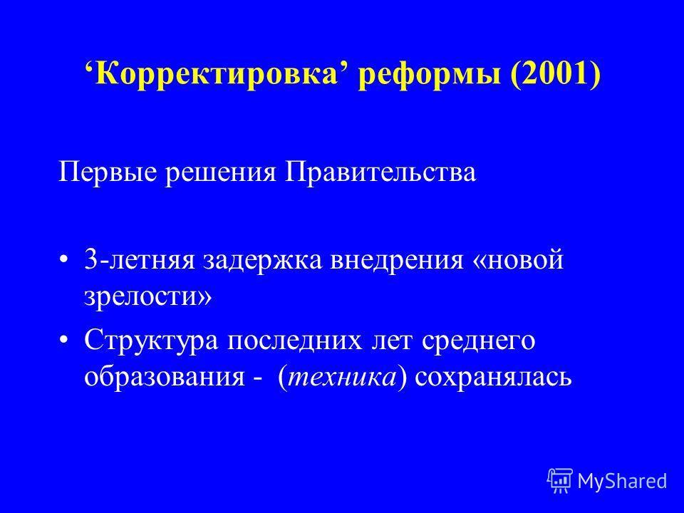 Корректировка реформы (2001) Первые решения Правительства 3-летняя задержка внедрения «новой зрелости» Структура последних лет среднего образования - (техника) сохранялась
