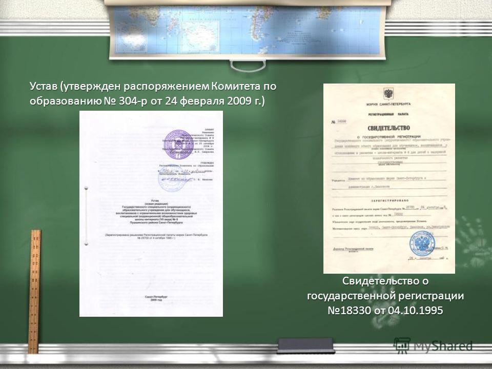 Устав (утвержден распоряжением Комитета по образованию 304-р от 24 февраля 2009 г.) Свидетельство о государственной регистрации 18330 от 04.10.1995