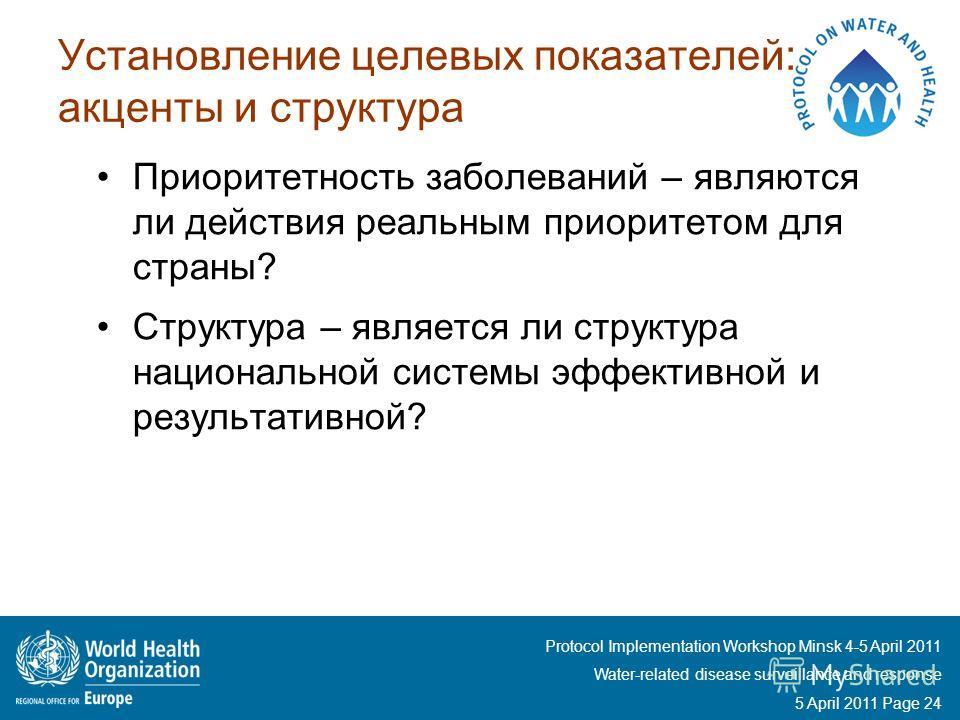 Protocol Implementation Workshop Minsk 4-5 April 2011 Water-related disease surveillance and response 5 April 2011 Page 24 Установление целевых показателей: акценты и структура Приоритетность заболеваний – являются ли действия реальным приоритетом дл