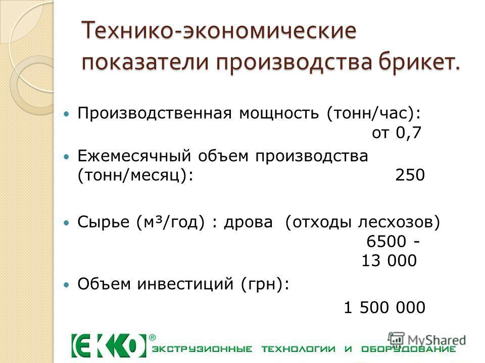 Технико - экономические показатели производства брикет. Производственная мощность (тонн/час): от 0,7 Ежемесячный объем производства (тонн/месяц): 250 Сырье (м³/год) : дрова (отходы лесхозов) 6500 - 13 000 Объем инвестиций (грн): 1 500 000