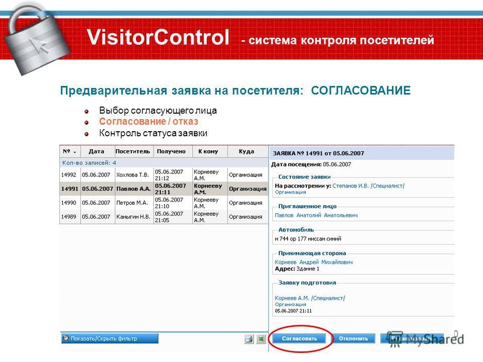 10 VisitorControl - система контроля посетителей Предварительная заявка на посетителя: СОГЛАСОВАНИЕ Выбор согласующего лица Согласование / отказ Контроль статуса заявки