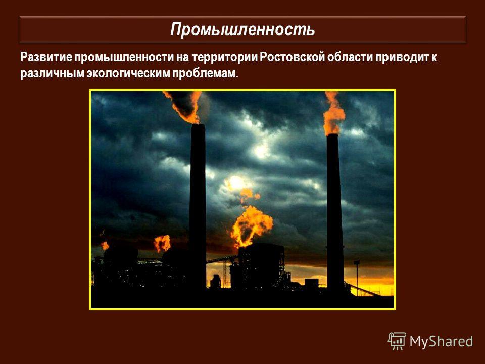 Промышленность Развитие промышленности на территории Ростовской области приводит к различным экологическим проблемам.
