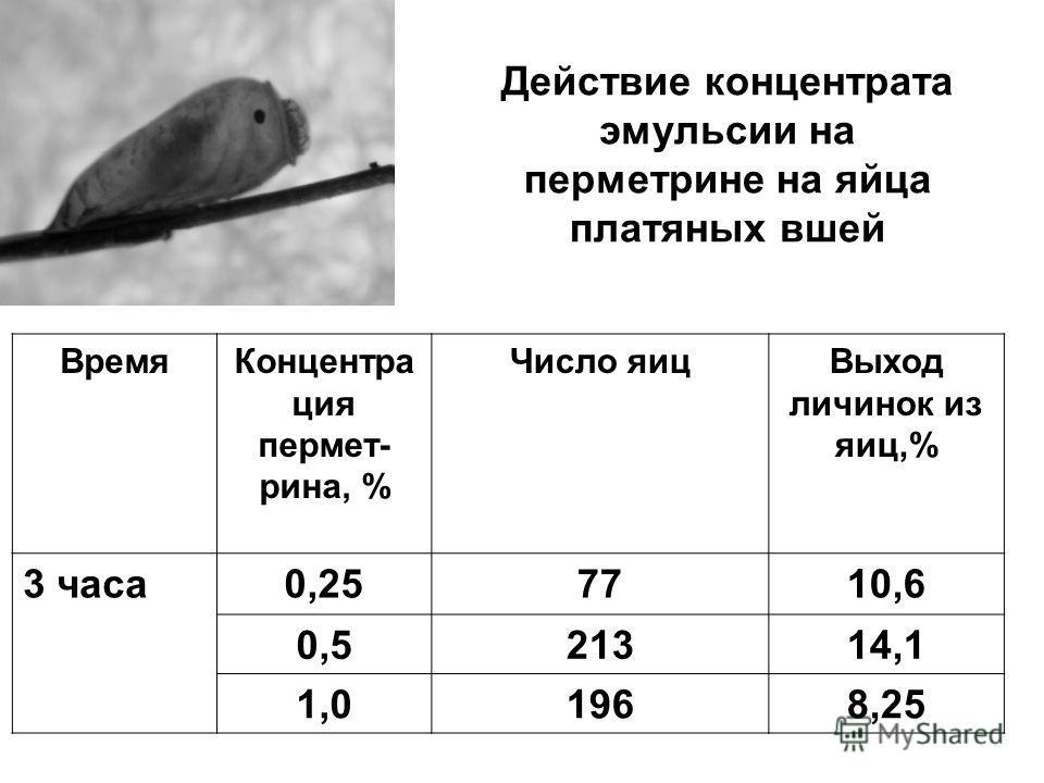 Действие концентрата эмульсии на перметрине на яйца платяных вшей ВремяКонцентра ция пермет- рина, % Число яицВыход личинок из яиц,% 3 часа0,257710,6 0,521314,1 1,01968,25