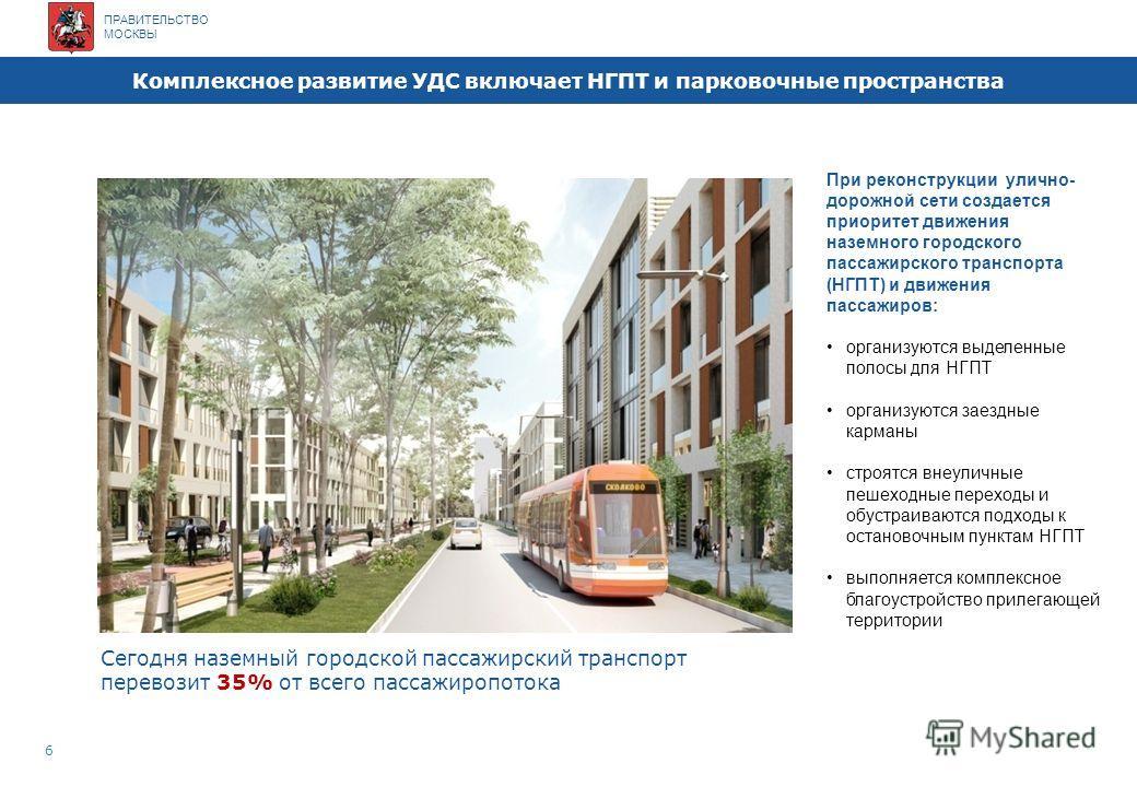 ПРАВИТЕЛЬСТВО МОСКВЫ Москва наряду с другими мегаполисами мира 5 Плотность улично-дорожной сети Москвы – 4,2 км/ кв км, в том числе магистральной сети – 1,54 км/кв км Плотность населения Москвы – 100,3 чел/га По сравнению с аналогичными показателями