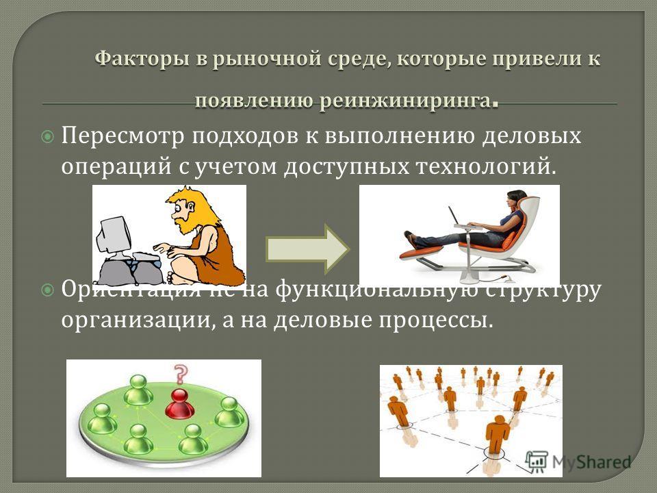 Пересмотр подходов к выполнению деловых операций с учетом доступных технологий. Ориентация не на функциональную структуру организации, а на деловые процессы.