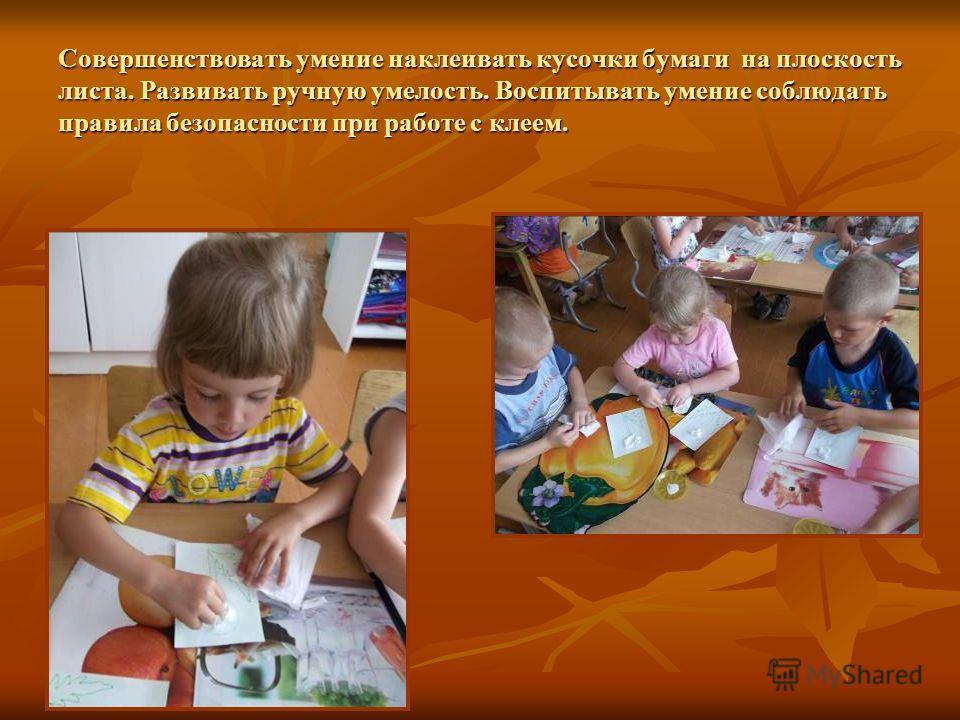 Совершенствовать умение наклеивать кусочки бумаги на плоскость листа. Развивать ручную умелость. Воспитывать умение соблюдать правила безопасности при работе с клеем.