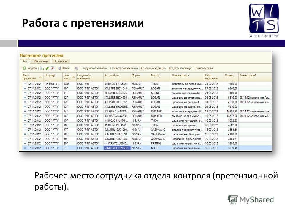 Работа с претензиями Рабочее место сотрудника отдела контроля ( претензионной работы ).
