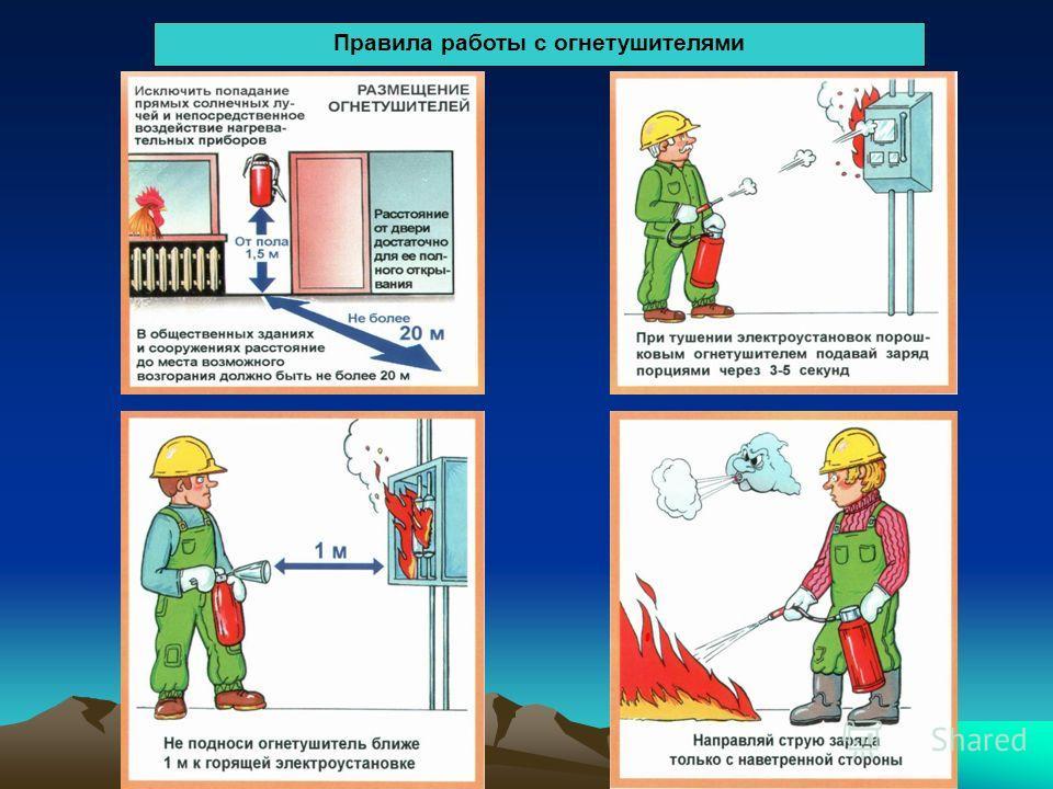 Правила работы с огнетушителями
