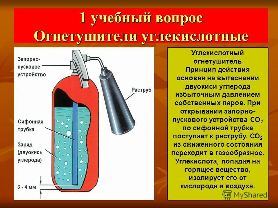 1 учебный вопрос Огнетушители углекислотные Углекислотный огнетушитель Принцип действия основан на вытеснении двуокиси углерода избыточным давлением собственных паров. При открывании запорно- пускового устройства СО 2 по сифонной трубке поступает к р