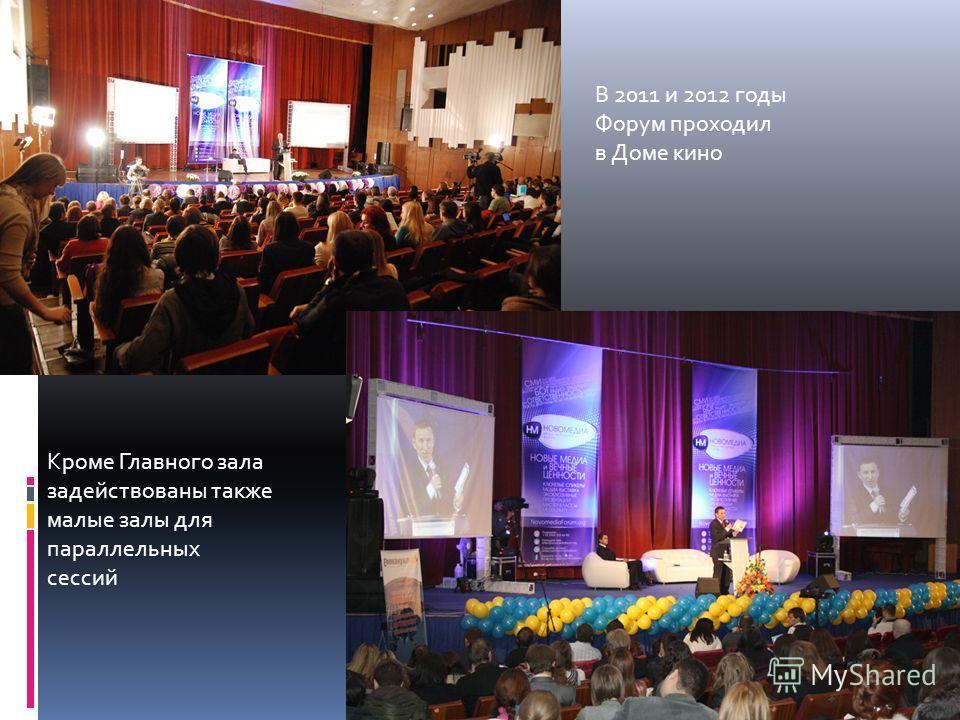 В 2011 и 2012 годы Форум проходил в Доме кино Кроме Главного зала задействованы также малые залы для параллельных сессий