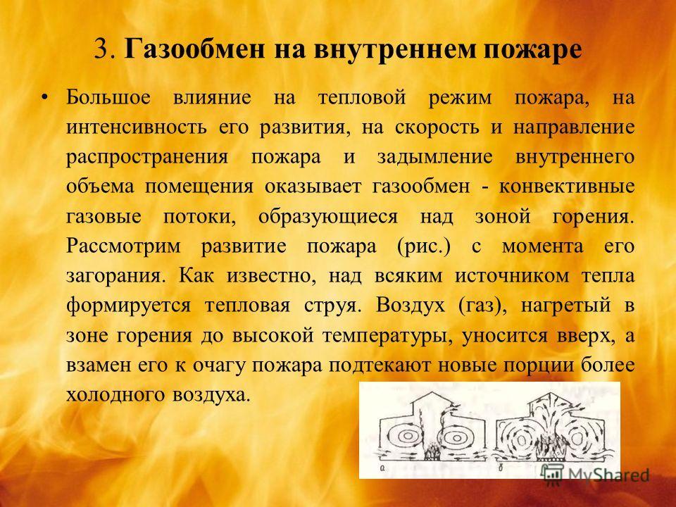 3. Газообмен на внутреннем пожаре Большое влияние на тепловой режим пожара, на интенсивность его развития, на скорость и направление распространения пожара и задымление внутреннего объема помещения оказывает газообмен - конвективные газовые потоки, о
