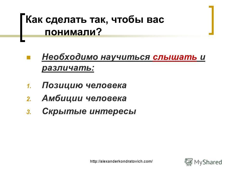 Как сделать так, чтобы вас понимали? Необходимо научиться слышать и различать: 1. Позицию человека 2. Амбиции человека 3. Скрытые интересы http://alexanderkondratovich.com/