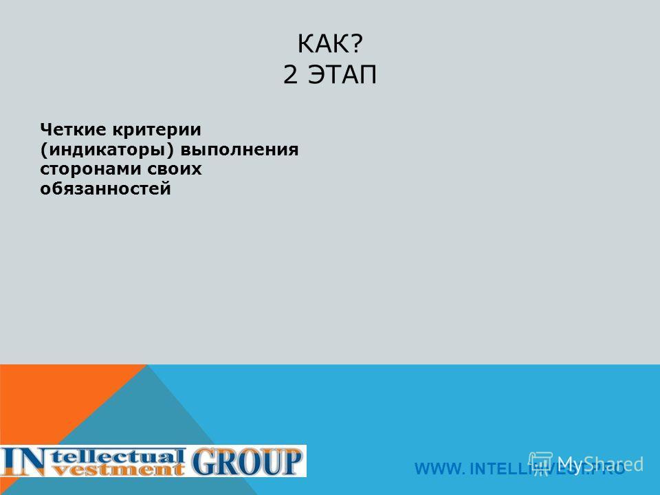 КАК? 2 ЭТАП Четкие критерии (индикаторы) выполнения сторонами своих обязанностей WWW. INTELLINVEST.PRO