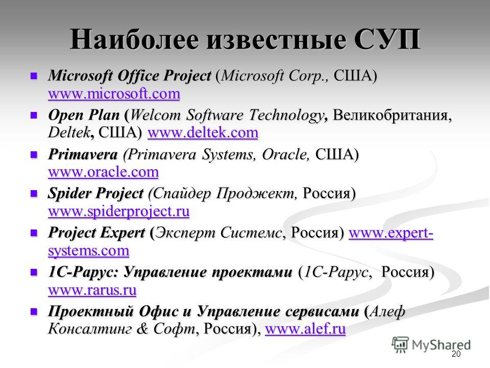 20 Наиболее известные СУП Microsoft Office Project (Microsoft Corp., США) www.microsoft.com Microsoft Office Project (Microsoft Corp., США) www.microsoft.com www.microsoft.com (Welcom Software Technology, Великобритания, Deltek, США) www.deltek.com O