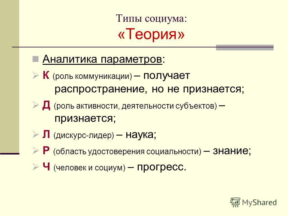 Типы социума: «Теория» Аналитика параметров: К (роль коммуникации) – получает распространение, но не признается; Д (роль активности, деятельности субъектов) – признается; Л (дискурс-лидер) – наука; Р (область удостоверения социальности) – знание; Ч (