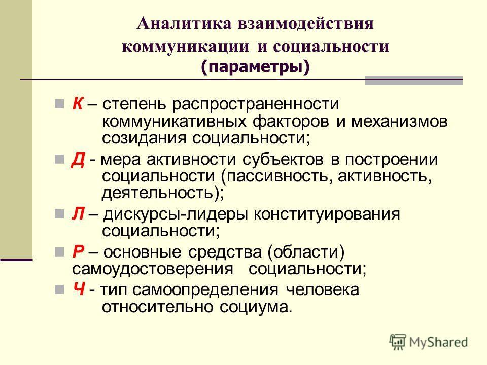 Аналитика взаимодействия коммуникации и социальности (параметры) К – степень распространенности коммуникативных факторов и механизмов созидания социальности; Д - мера активности субъектов в построении социальности (пассивность, активность, деятельнос