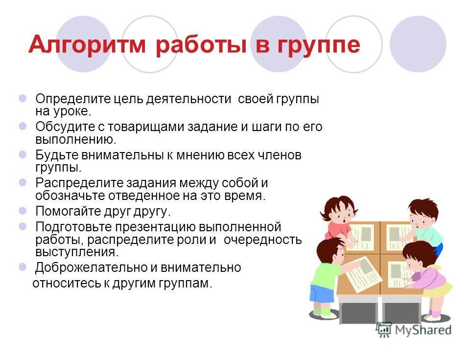 Алгоритм работы в группе Определите цель деятельности своей группы на уроке. Обсудите с товарищами задание и шаги по его выполнению. Будьте внимательны к мнению всех членов группы. Распределите задания между собой и обозначьте отведенное на это время