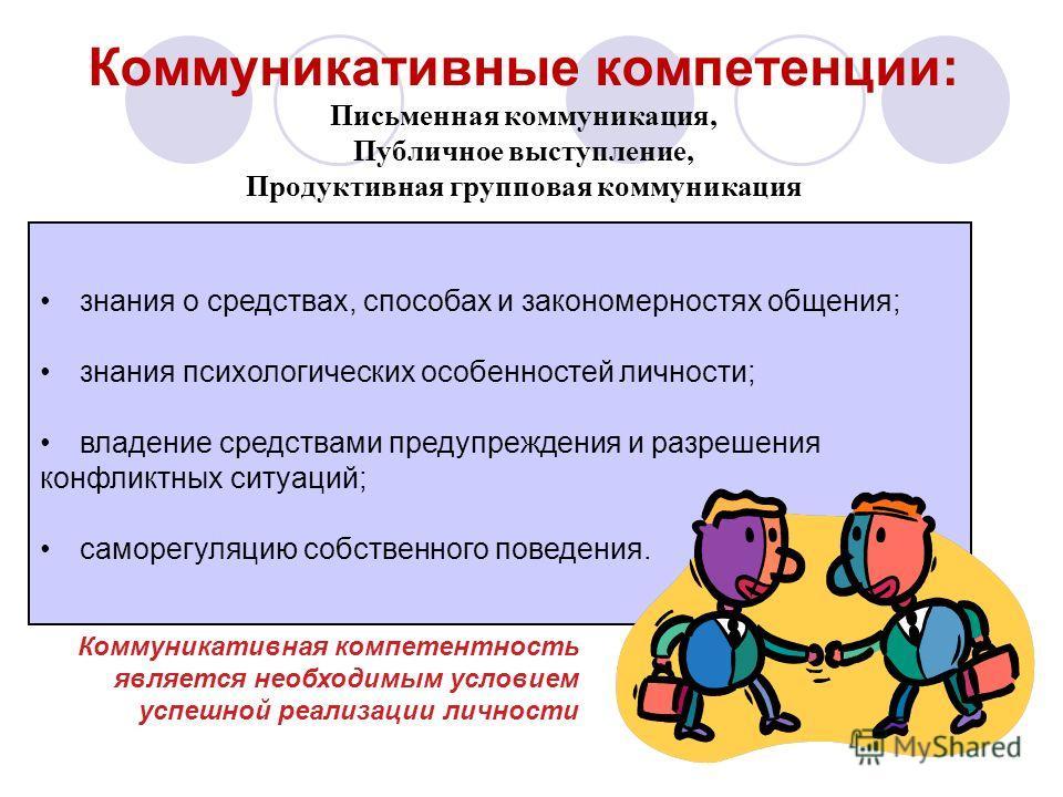 Коммуникативные компетенции: Письменная коммуникация, Публичное выступление, Продуктивная групповая коммуникация знания о средствах, способах и закономерностях общения; знания психологических особенностей личности; владение средствами предупреждения
