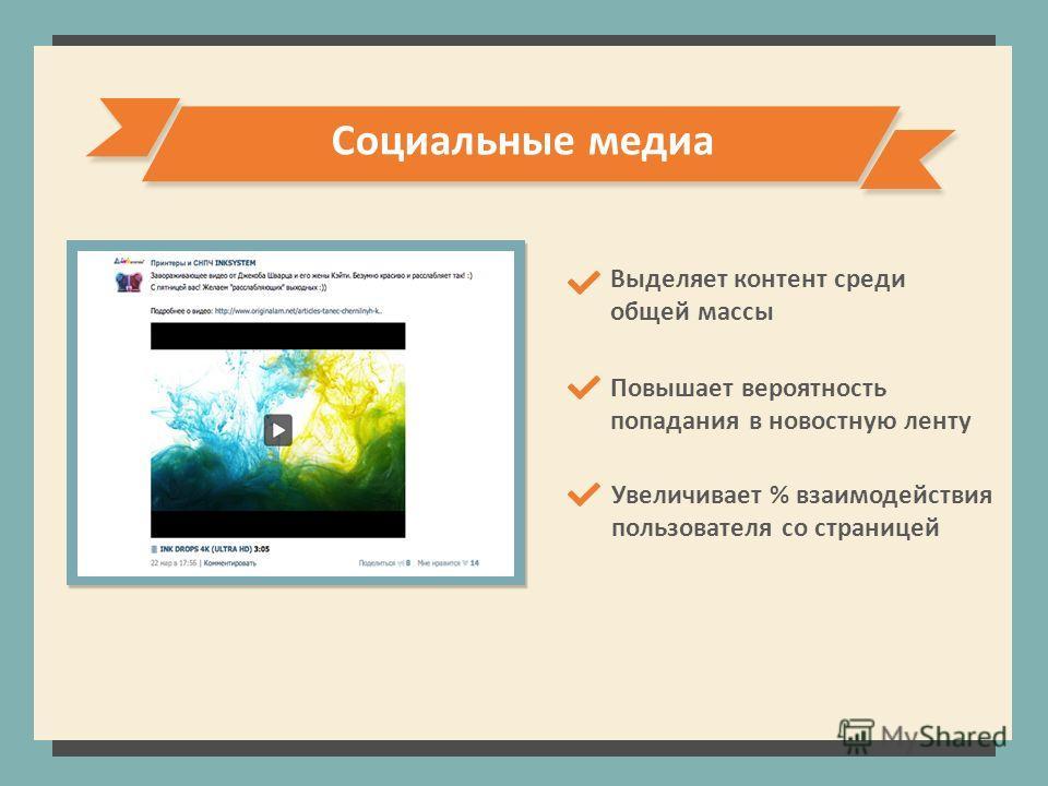 Социальные медиа Повышает вероятность попадания в новостную ленту Увеличивает % взаимодействия пользователя со страницей Выделяет контент среди общей массы