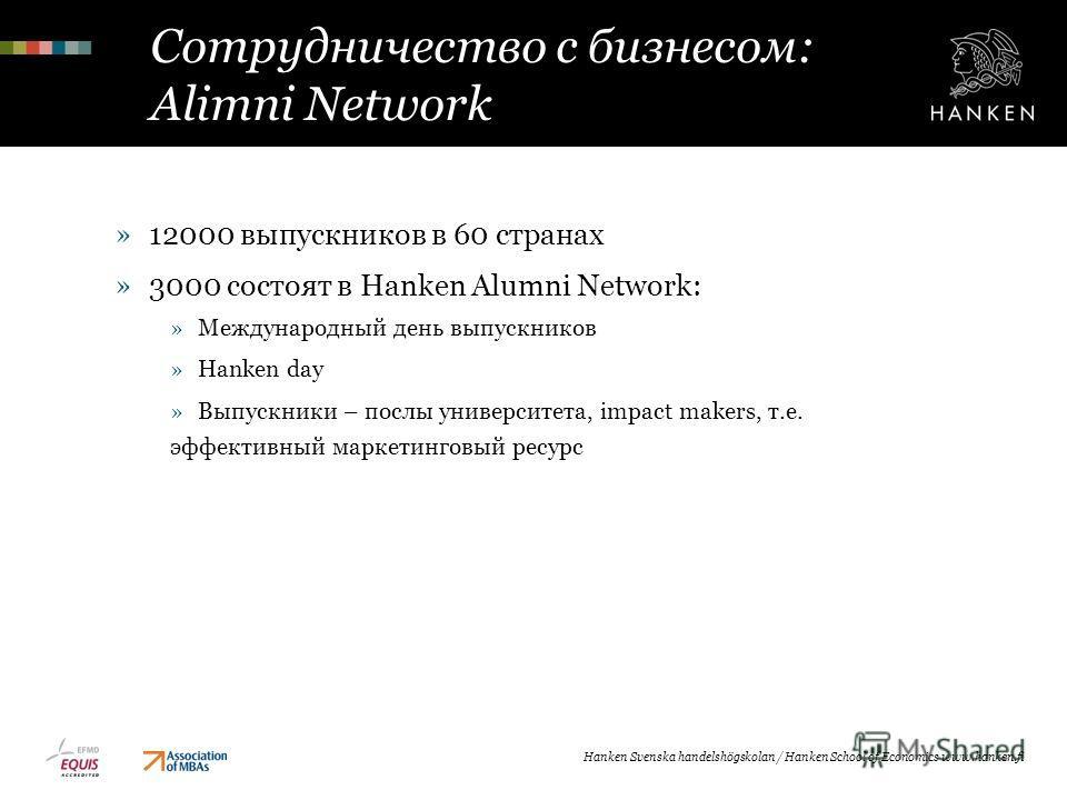 Сотрудничество с бизнесом: Alimni Network »12000 выпускников в 60 странах »3000 состоят в Hanken Alumni Network: »Международный день выпускников »Hanken day »Выпускники – послы университета, impact makers, т.е. эффективный маркетинговый ресурс Hanken