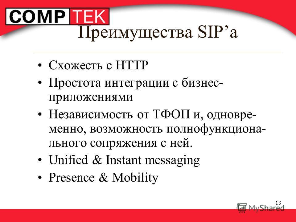13 Преимущества SIPa Схожесть с HTTP Простота интеграции с бизнес- приложениями Независимость от ТФОП и, одновре- менно, возможность полнофункциона- льного сопряжения с ней. Unified & Instant messaging Presence & Mobility