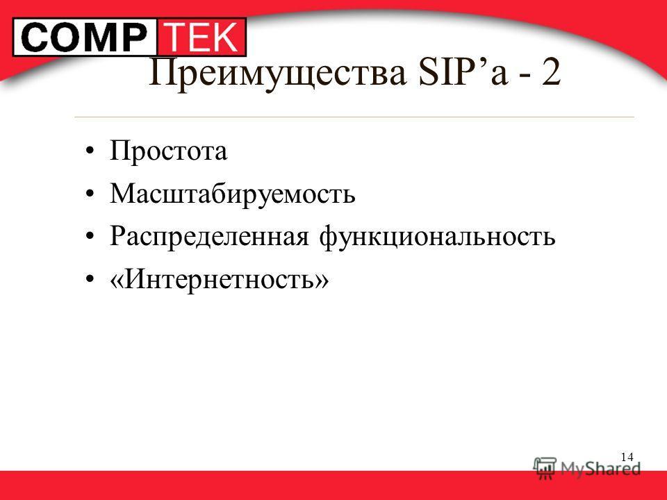 14 Преимущества SIPa - 2 Простота Масштабируемость Распределенная функциональность «Интернетность»