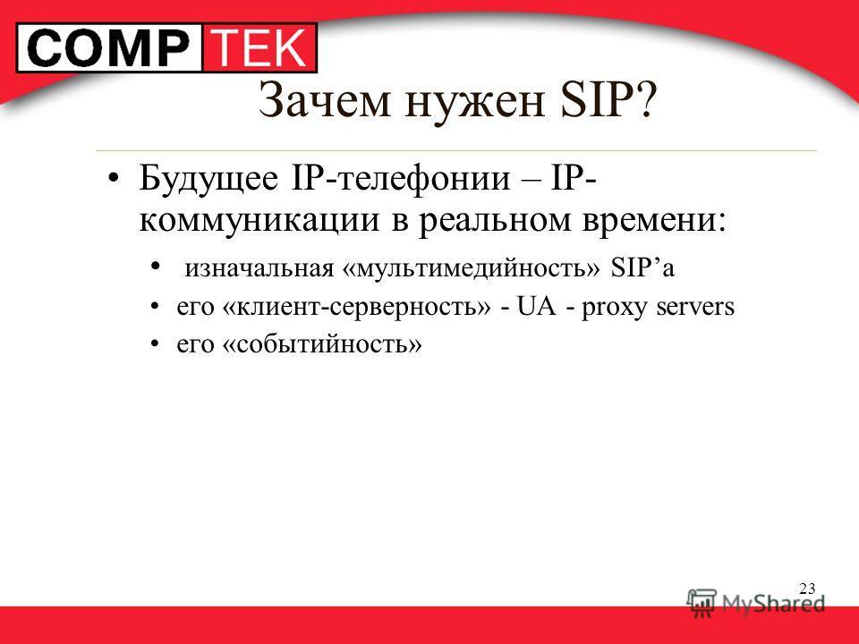 23 Зачем нужен SIP? Будущее IP-телефонии – IP- коммуникации в реальном времени: изначальная «мультимедийность» SIPа его «клиент-серверность» - UA - proxy servers его «событийность»