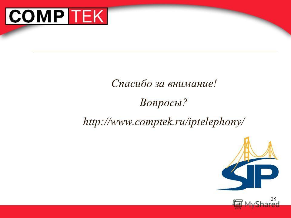 25 Спасибо за внимание! Вопросы? http://www.comptek.ru/iptelephony/