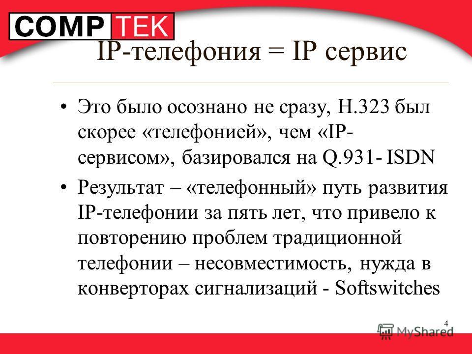 4 IP-телефония = IP сервис Это было осознано не сразу, Н.323 был скорее «телефонией», чем «IP- сервисом», базировался на Q.931- ISDN Результат – «телефонный» путь развития IP-телефонии за пять лет, что привело к повторению проблем традиционной телефо