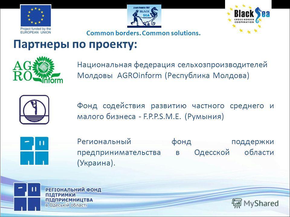 Партнеры по проекту: Национальная федерация сельхозпроизводителей Молдовы AGROinform (Республика Молдова) Фонд содействия развитию частного среднего и малого бизнеса - F.P.P.S.M.E. (Румыния) Региональный фонд поддержки предпринимательства в Одесской