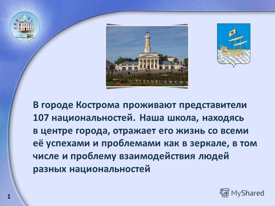 В городе Кострома проживают представители 107 национальностей. Наша школа, находясь в центре города, отражает его жизнь со всеми её успехами и проблемами как в зеркале, в том числе и проблему взаимодействия людей разных национальностей 1