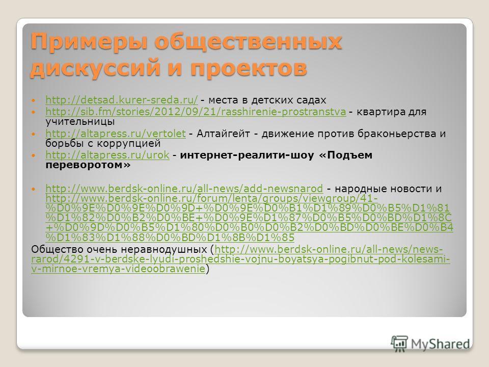 Примеры общественных дискуссий и проектов http://detsad.kurer-sreda.ru/ - места в детских садах http://detsad.kurer-sreda.ru/ http://sib.fm/stories/2012/09/21/rasshirenie-prostranstva - квартира для учительницы http://sib.fm/stories/2012/09/21/rasshi