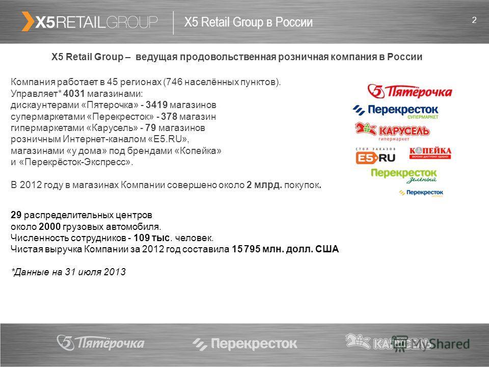 2 X5 Retail Group в России X5 Retail Group – ведущая продовольственная розничная компания в России Компания работает в 45 регионах (746 населённых пунктов). Управляет* 4031 магазинами: дискаунтерами «Пятерочка» - 3419 магазинов супермаркетами «Перекр