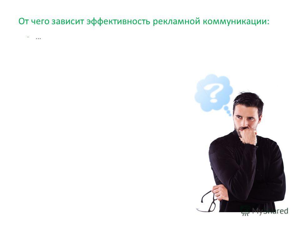От чего зависит эффективность рекламной коммуникации: -…-…