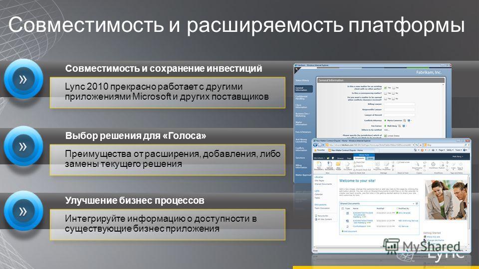 Совместимость и расширяемость платформы Lync 2010 прекрасно работает с другими приложениями Microsoft и других поставщиков Совместимость и сохранение инвестиций Преимущества от расширения, добавления, либо замены текущего решения Выбор решения для «Г