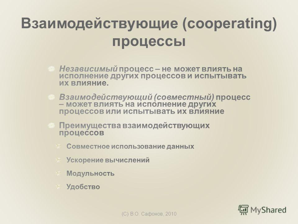 (C) В.О. Сафонов, 2010 Взаимодействующие (cooperating) процессы