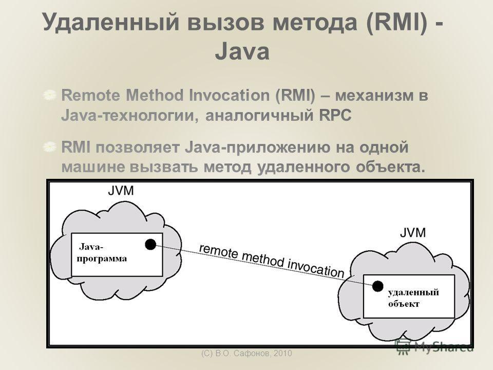 (C) В.О. Сафонов, 2010 Удаленный вызов метода (RMI) - Java