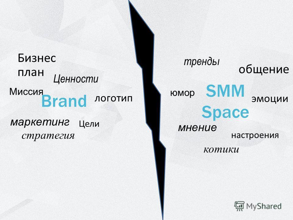 Brand SMM Space Миссия Ценности Бизнес план Цели маркетинг логотип стратегия юмор тренды общение настроения мнение эмоции котики
