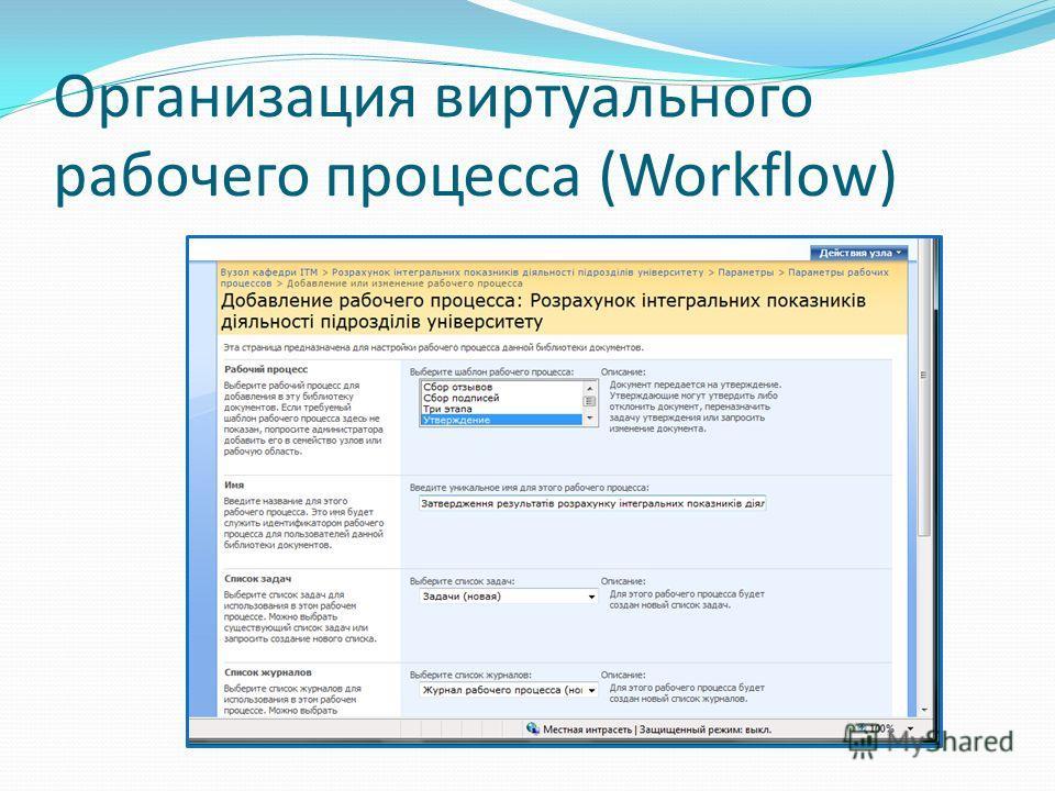 Организация виртуального рабочего процесса (Workflow)