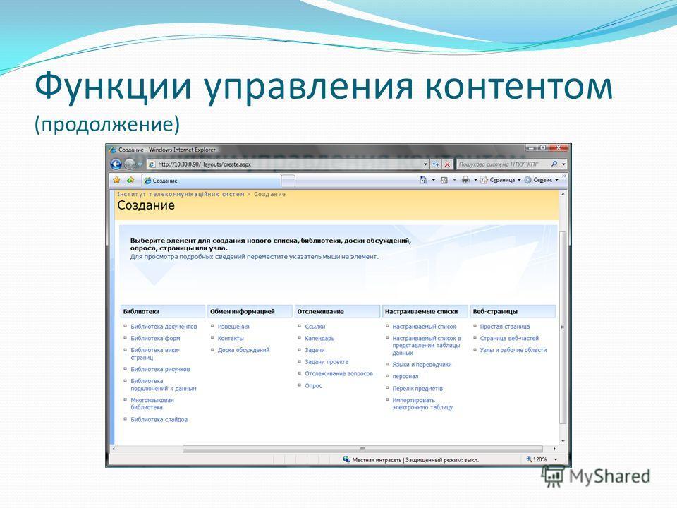 Функции управления контентом (продолжение)