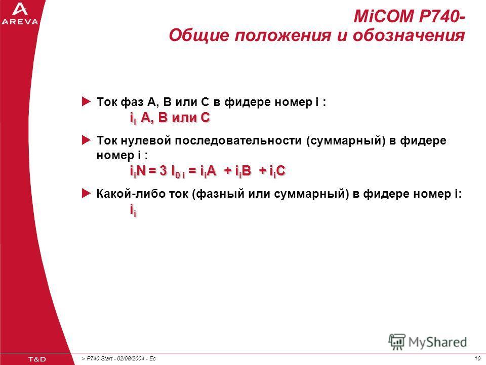 > P740 Start - 02/08/2004 - Ec10 MiCOM P740- Общие положения и обозначения i i A, B или C Ток фаз A, B или C в фидере номер i : i i A, B или C i i N = 3 I 0 i = i i A + i i B + i i C Ток нулевой последовательности (суммарный) в фидере номер i : i i N