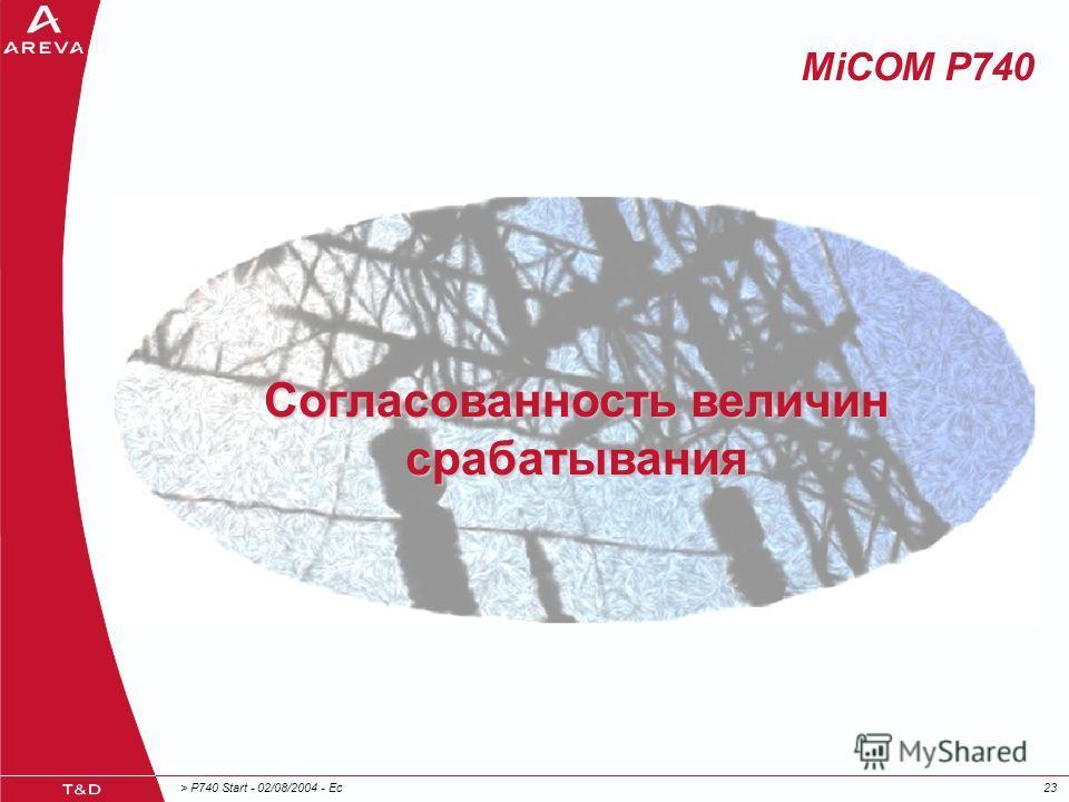 > P740 Start - 02/08/2004 - Ec23 MiCOM P740 Согласованность величин срабатывания