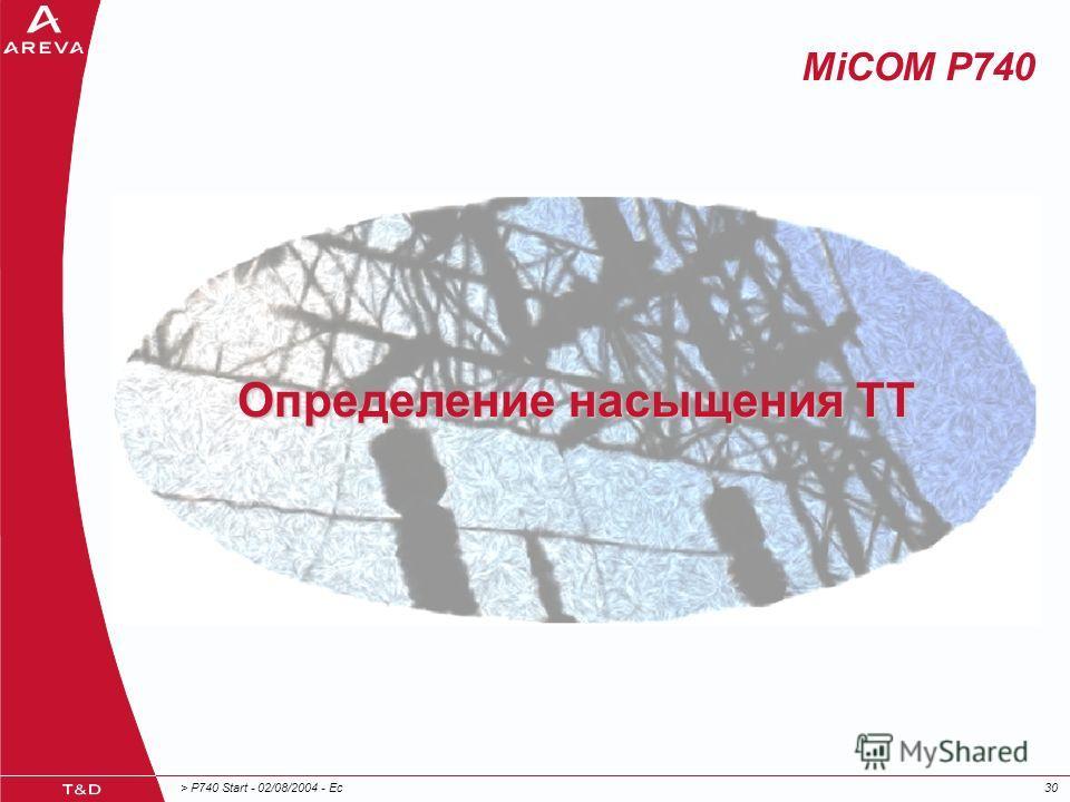 > P740 Start - 02/08/2004 - Ec30 MiCOM P740 Определение насыщения ТТ
